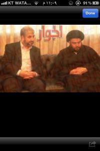مقتدى الصدر الذي يرسل مليشياته لقتل الشعب في سوريا يجتمع معه خالد مشعل